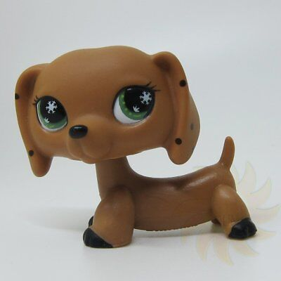 Littlest Pet Shop LPS Toy Brown Monopoly Spotted Dachshund Dog Snowflake Eyes