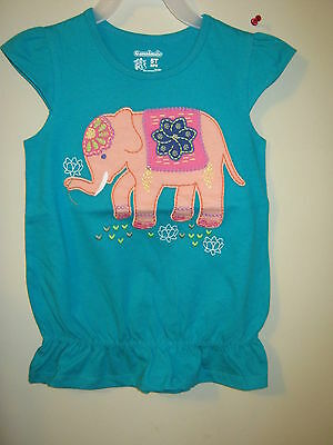 Embroidered Elephant Top New pretty girl's Garanimals blue green 12 mons