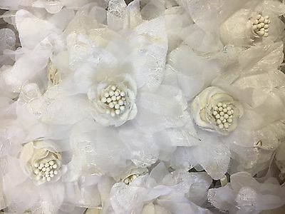 Wholesale Case Lot - 4 Dozen White Silk Flowers Beautifully Accented with Lace