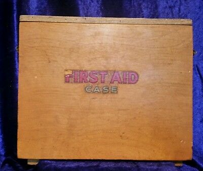 Vintage Industrial Wooden First Aid Case c1960's wall mountable + accessories