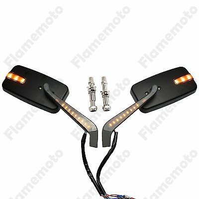 LED Turn Signals Light Intergrated Indicator Rearview Racing Mirror For Harley