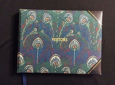 Vtg Visitors or Guest Book Cloth Covered Peacock Print Liberty Hand Made