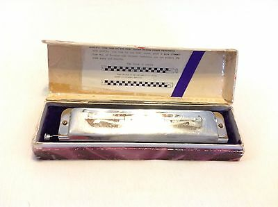 Unica Tombo Deluxe 1244 Full Chromatic Harmonica Made In Japan With Box 44 Tones