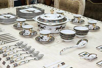 Royalty Porcelain Horse Cheval 75-pc Large dinner and Sushi Set, Service for 6