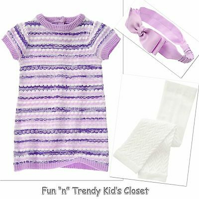 NWT Crazy 8 Girls Size 4T 5T Colorblock Sweater Dress Leggings Hair  3-PC OUTFIT