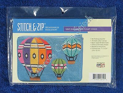 Stitch & Zip Needlepoint Purse Hot Air Balloons Kit Pre Assembled Quick & Easy