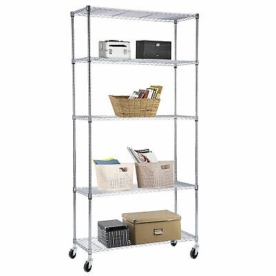 "60""x30""x14"" Adjustable 5 Tier Wire Shelving Rack Heavy Duty Chrome Steel Shelf"