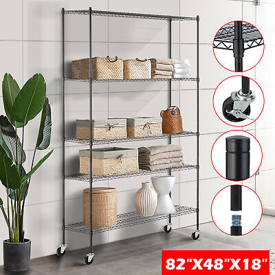 "82""x48""x18"" Heavy Duty 5 Tier Layer Wire Shelving Rack Steel Shelf Adjustable"
