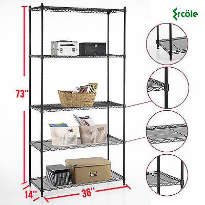 "73""x36""x14"" Heavy Duty 5 Tier Layer Wire Steel Shelving Rack Shelf Adjustable"