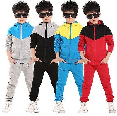 Kids Boy Jogging Suit Tracksuit Hoodie Bottoms Jacket Tops Outfits Age 3-8 Years