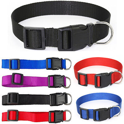 Pet Dog Puppy Cat Nylon Solid Collar Safety Buckle Sizes XS-L Adjustable tan