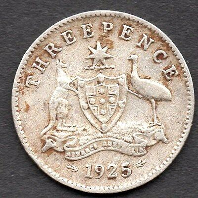 1925 AUSTRALIAN THREEPENCE (3d) - *** AVERAGE CONDITION *** KING GEORGE V