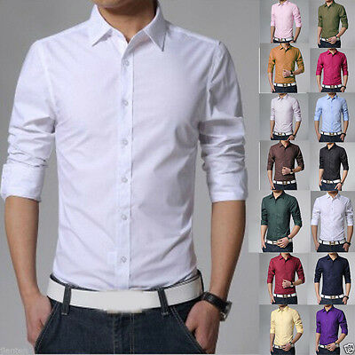 New Stylish Men's Luxury Casual Slim Fit Tee T-Shirts Long Sleeve Business Shirt