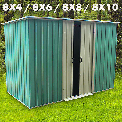 Green Garden Shed Metal Apex Roof Outdoor Storage With Free Foundation PANANA