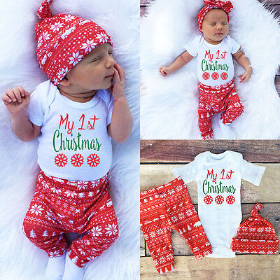 Newborn Baby Boys Girls Christmas Clothes Tops Romper Pants Hat 3PCS Outfits Set