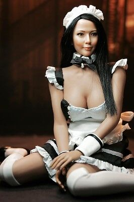 SUPER DUCK 1/6th Scale Black Maid Costume Female Clothes F 12'' Large Bust Body