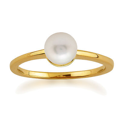 Amour Damier 9ct Yellow Gold 1.35ct Chinese Freshwater Pearl Ring by Gemondo