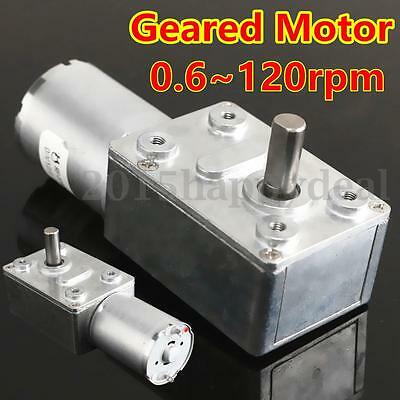 1pc Reversible High Torque Turbo Worm Geared Motor DC Motor GW370 12V 0.6-120RPM