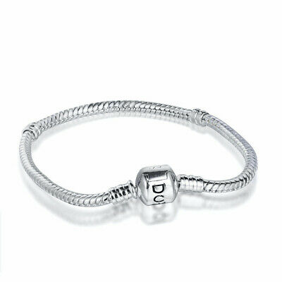 Silver Bracelet bangle clip chain Fit European S925 silver charms dangle beads