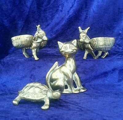 Victorian brass ornament job lot grinning cat / tortoise & donkeys