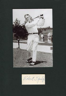 GOLFER Bobby Jones autograph, signed card mounted