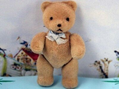 Dolls House 12th scale Flock Teddy Bear - Blue Bow
