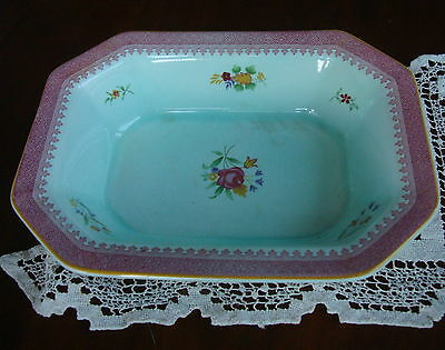 """Adams Lowestoft Calyx Ware England 9 7/8"""" Oval Vegetable Bowl Pink Border RED"""