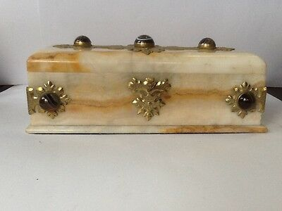 White Marble with Agate stones Victorian Glove Box