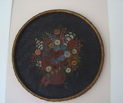 """Vintage 18"""" Handpainted Floral Still Life Matte Woven Tray Basket Wall Hanging"""