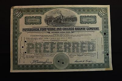 1968 Pittsburgh Fort Wayne and Chicago Railway Company Stock Certificate A28484