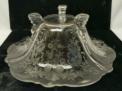 Vintage antique  Large Etched 3 Footed Bowl Clear Elegant beautiful
