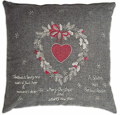 """Grey Red Christmas Tapestry Woven Heart Xmas Cushion Cover 43 x 43cm (17"""" x 17"""")"""