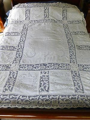 Antq Edwardian hand embroidered linen lace bedcover tablecloth monogram 'B 1913'
