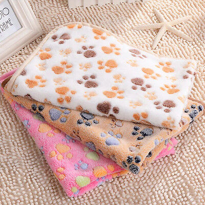 UK Stock Warm Fleece Blanket Pet Dog Puppy Cat Paw Soft Nap Beds Mat Large Fast