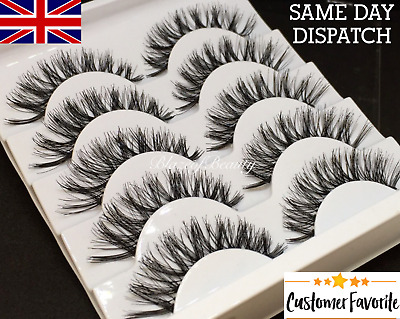 5 Pairs Demi Wispies Natural False Eyelashes Volume Thick Fake Strip  Lashes