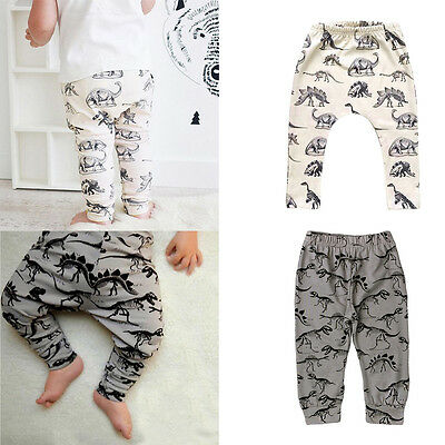 Newborn Kids Baby Boys Girls Dinossur Bottom Harem PP Leggings Pants Trousers