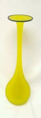 """VINTAGE 12"""" TALL HAND BLOWN VASE...yellow with blue rim"""