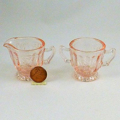 Mosser Glass Jennifer Miniature Sugar & Creamer Child's Play Doll Dishes Pink