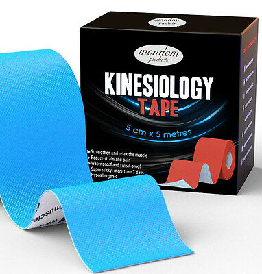 2 Rolls 5m x 5cm Kinesiology Sports Tape Injury Muscle Support Physio Waterproof