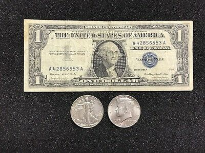 $1.00 1957 Silver Certificate, Walking Liberty Half, and Kennedy Half