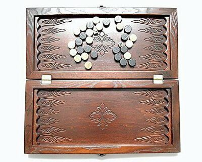 "Middle Size Handmade Wooden Solid Backgammon Set Board Game ""Engraved"""