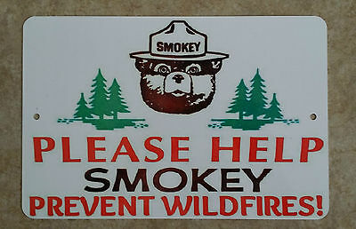 *smokey Bear Metal Sign* 8X12 U.s. Forest Service Please Help Prevent Wildfires!