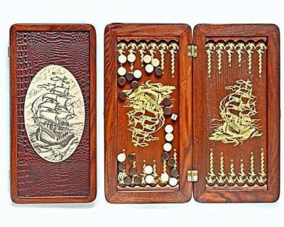 "Middle Size Handmade Wooden Solid Backgammon Set Board Game ""Frigate"""
