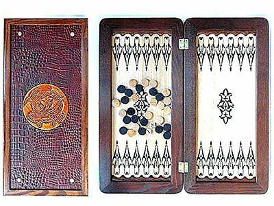 "Middle Size Handmade Wooden Solid Backgammon Set Board Game ""Lion"""