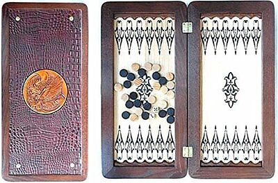"Middle Size Handmade Wooden Solid Backgammon Set Board Game ""Golden Eagle"""