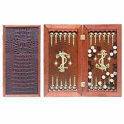 "Portable Size Handmade Wooden Solid Backgammon Set Board Game ""Anchor"""
