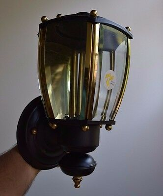 Vintage Mid Century Porch Sconce Light Lantern Solid Brass Glass Black Fixture