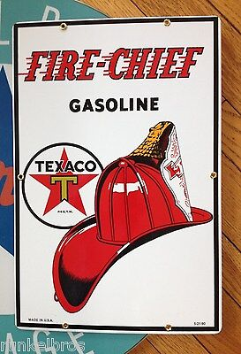 texaco FIRE CHIEF GASOLINE  porcelain sign - great QUALITY