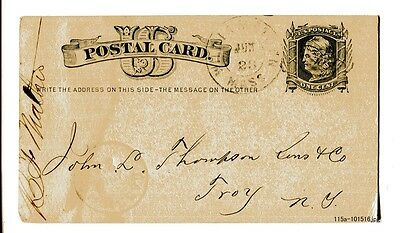Antique U.S. c.1879 Postal Card with WILLIAMSTOWN, MASS. & Carrier Cancel