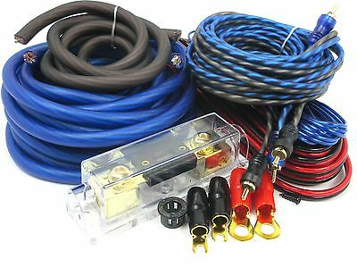 Gravity 4 Gauge Amp KIT Amplifier Install Wiring Set (OFC) BEST 4500 WATTS BlUE